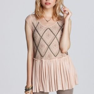 Free People Holiday to India Peach Mesh Beaded Top